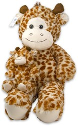 Pluche Giraffe met baby 80cm