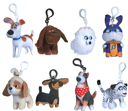 Secret Life of Pets Pluche Bagclip 10cm 8 assorti