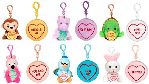 Pluche Swizzels Love Hearts Bagclip 12 assorti 10cm
