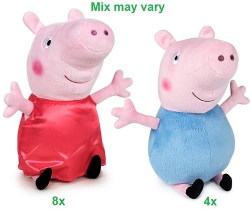 Peppa Pig Pluche Peppa Satin Dress & George S1 2 assorti 20cm