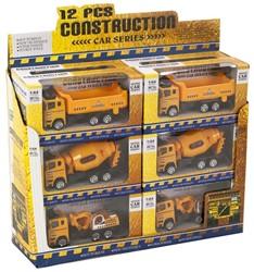 Die-Cast Construction voertuigen in 3 assorti display