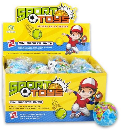 Bal Sport Toys PU Wereldbol 7cm in display