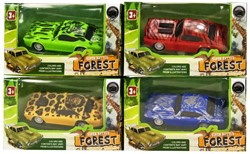 Auto Forest Pull Back 4 assorti 6,5x11,5cm