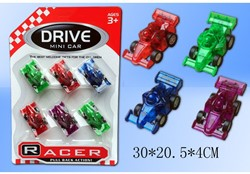 Race auto Friction 6 stuks op kaart 30x20,5cm