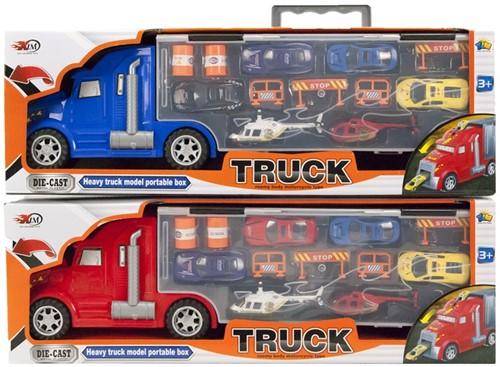 Die-Cast Vrachtwagen + 4 auto's + 2 helikopters