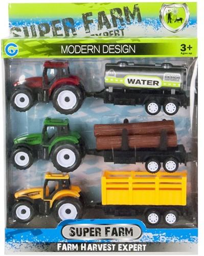 Tractor met aanhanger Pull Back XL 3 delig 22x24cm