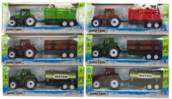 Tractor met aanhanger Pull Back 6 assorti 9x22,5cm