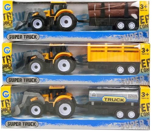Tractor Geel met aanhanger Pull Back 3 assorti 7x25cm
