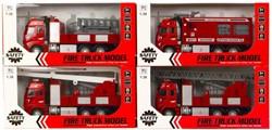 Die-Cast Brandweerwagen Pull back 4 assorti