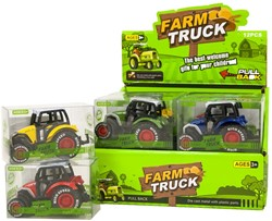 Die-Cast Tractor Pull back in display 5x7cm