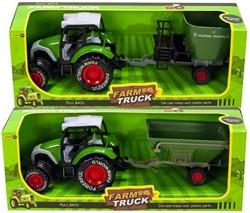 Die-Cast Tractor met aanhanger Pull back 2 assorti 11,5x32cm