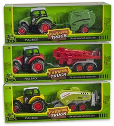 Die-Cast Tractor met aanhanger Pull back 3 assorti 9x25cm