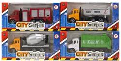 Vrachtwagen City Series Pull Back 4 assorti 8,5x17cm