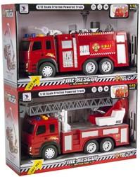 Brandweerwagen Friction met licht en geluid 2 assorti 23x38cm