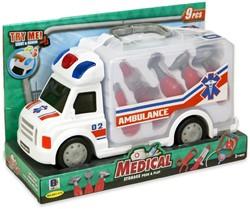 Ambulance met licht en geluid + dokterset 23x34cm