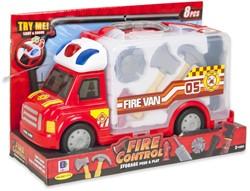 Brandweerwagen met licht en geluid + brandweerset 23x34cm