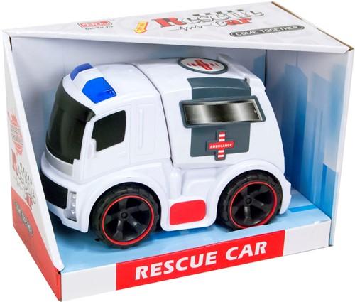 Ambulance Friction Rescue Car met licht en geluid 17,5x24cm