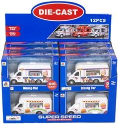 Die-Cast Food Truck Pull Back 2 assorti in display 10x17cm