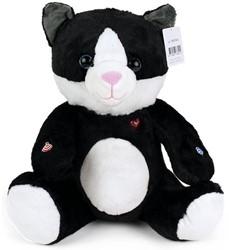 Pluche Kat Zwart Wit 30cm