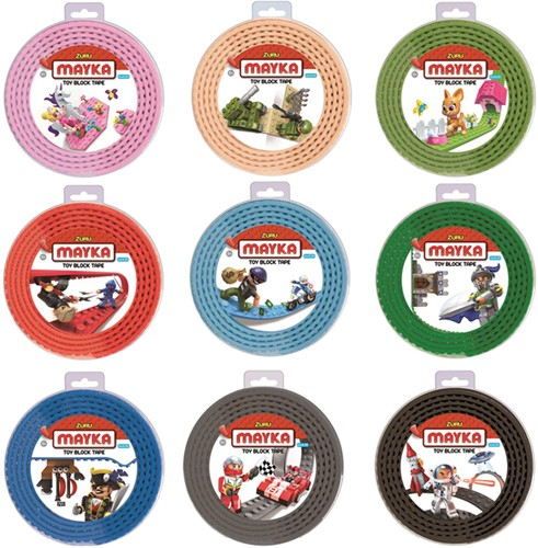 Zuru Mayka Toy Block Tape Bouwstrips assorti 2 meter lang, 4cm breed (4 studs) in display (12)