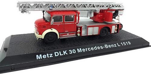 """Brandweerwagen Die-Cast 1:72 """"Metz DLK30 Mercedes-Benz L 1519"""" 13cm (Verzendverpakking ingedeukt, item onbeschadigd)"""