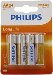 Philips Longlife R6 AA 4 stuks