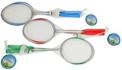 Badmintonset (2 rackets met shuttle) in  net 3 assorti 20x63cm