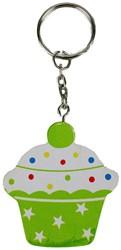 Sleutelhanger Cupcake Hout Groen Plat 5x