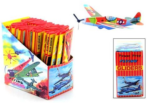 Werpvliegtuigjes in display 12 assorti EVA