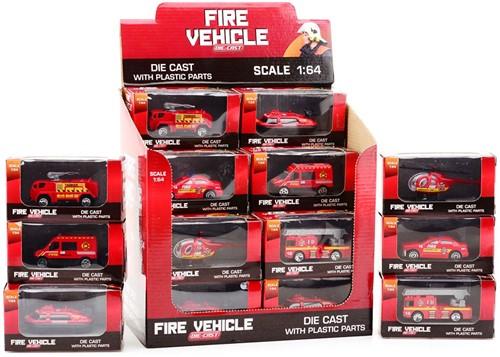 Brandweervoertuigen1:64indisplay6assorti
