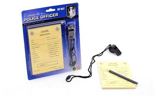 Politie bonnenboekje met potlood en fluit