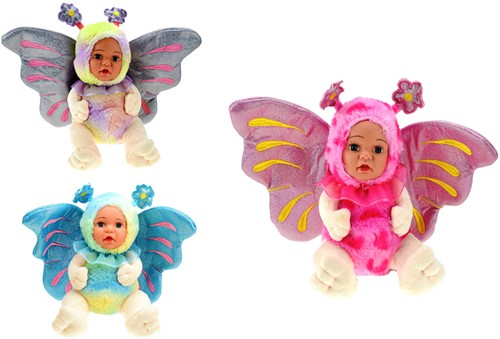 Pluche Butterfly pop 3 assorti 22cm