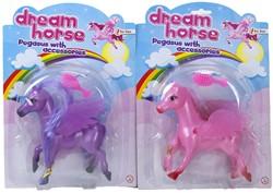 Pegasus paard met borstel op blisterkaart assorti