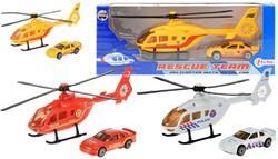 Helicopter met metalen Auto 3 assorti