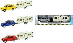 Die-Cast auto met caravan 4 assorti