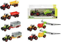 DIECAST Tractor groot + aanhanger 7 asso