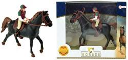 Paard zwart met ruiter