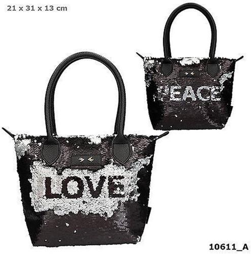 Depesche Trend LOVE handtas streel pailletten zwart 23x30cm