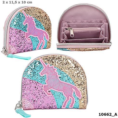 Depesche Ylvi en de Minimoomis Portemonnee regenboog Glitter paars