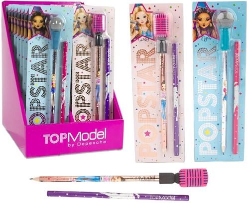Depesche Topmodel Popstar Potlood met Microfoon Gum 2 assorti in display