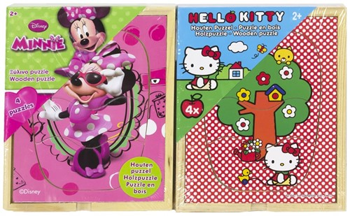 Houten Puzzel Hello Kitty + Minnie Mouse 3dlg 4 puzzels 12x15cm 2 assorti