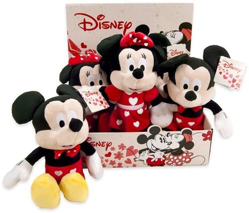 Disney Pluche Mickey & Minnie Mouse Hearts 2 assorti 22cm