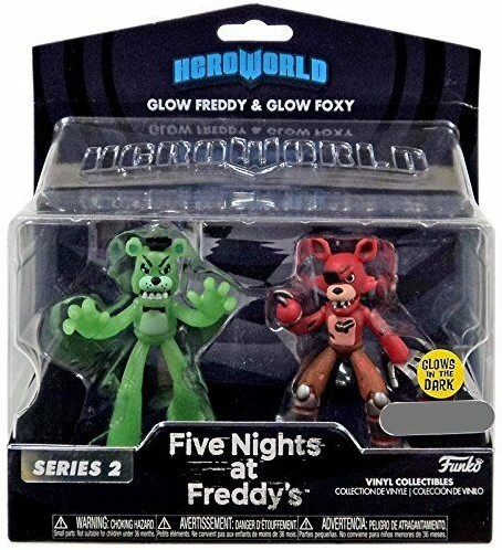 Heroworld Five Nights at Freddys 2-Pack Glow Freddy &Foxy
