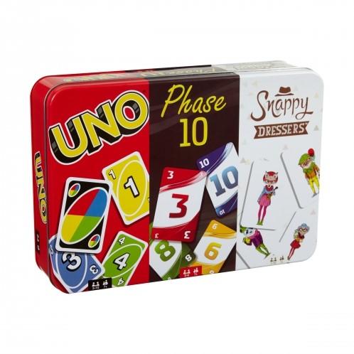 Spellen in blik 3-Pack Uno + Phase 10 + Snappy Dressers 15x21,5cm