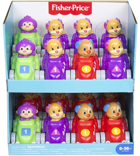 Mattel Fisher Price Raceauto met dierfiguur assorti in display