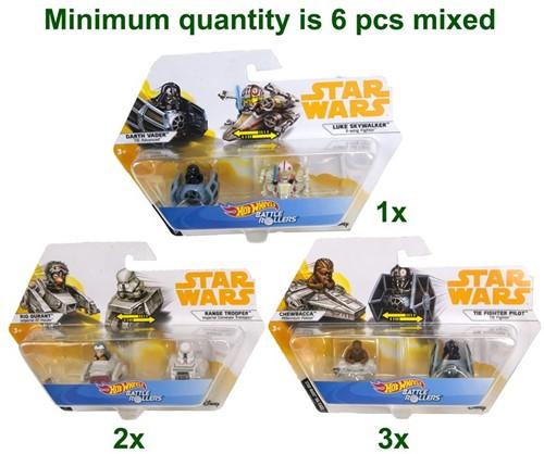 Hot Wheels Star Wars Battle Rollers 2-Pack 3 assorti 4cm