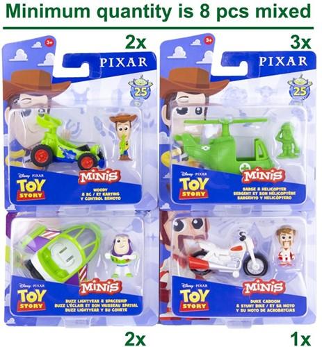 Disney Toy Story 4 voertuigen, mini's 4 assorti 14x15cm