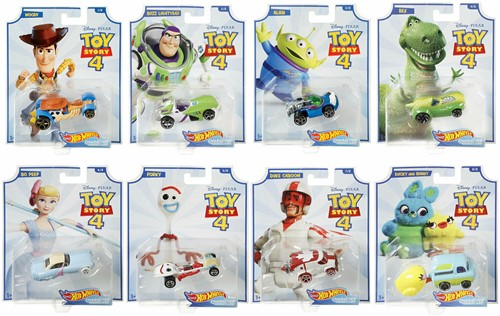 Toy Story 4 Hot Wheels Character Cars voertuigen 8 assorti