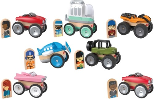 Fisher Price Wonder makers Houten voertuigen assorti in display