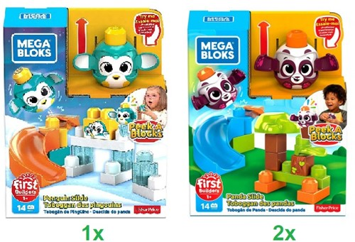 Mega Bloks Bouw Speelset Peek A Blocks dieren 14 delig Happy Slide 2 assorti 20x26cm
